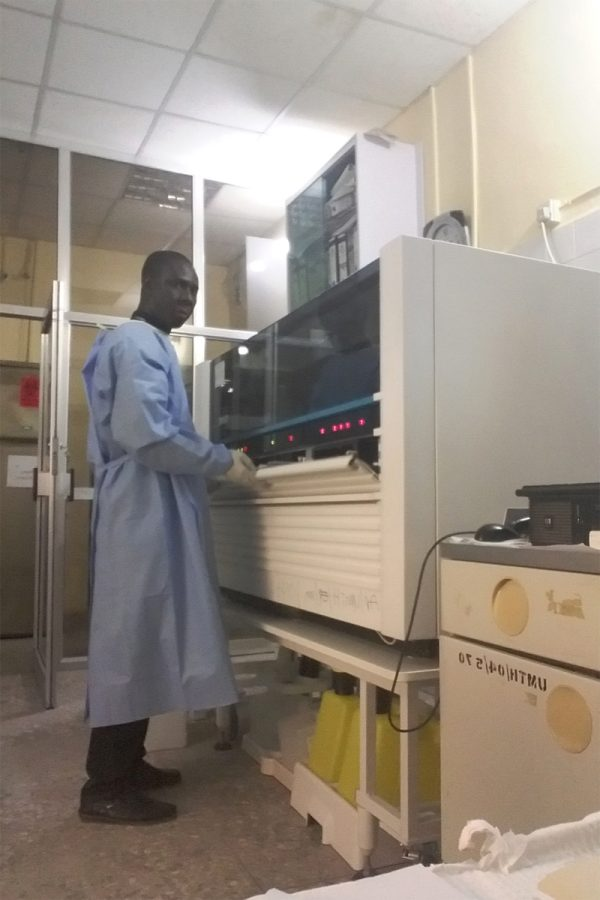 Anthony Abraham, An IFBA Certified Prefessional (Biorisk Management) deploys expertise in working in the laboratory.